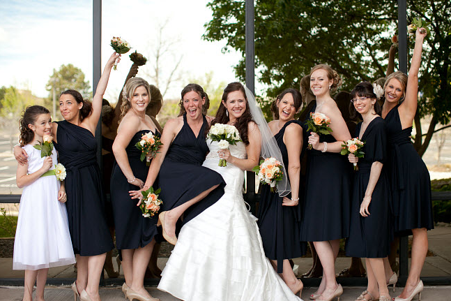 black bridesmaid dresses of different style