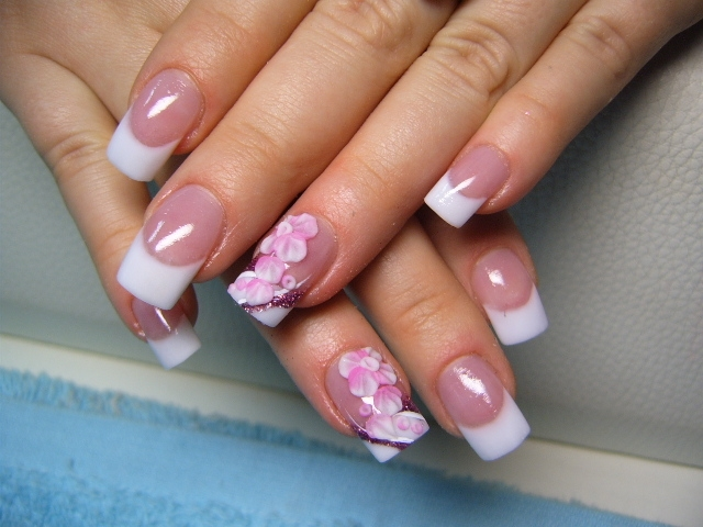 Funny white blue spring nail designs