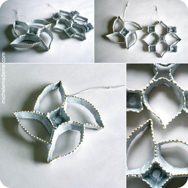 Michele made me series 7 ornament ed egg carton snowflakes for Egg carton christmas crafts