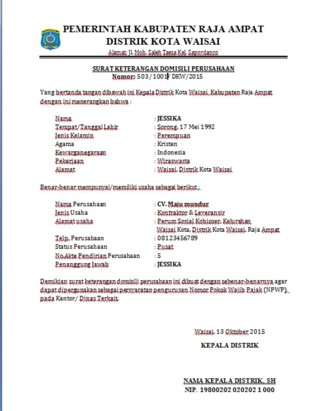 Contoh Surat Keterangan Domisili Perusahaan Distrik Kota