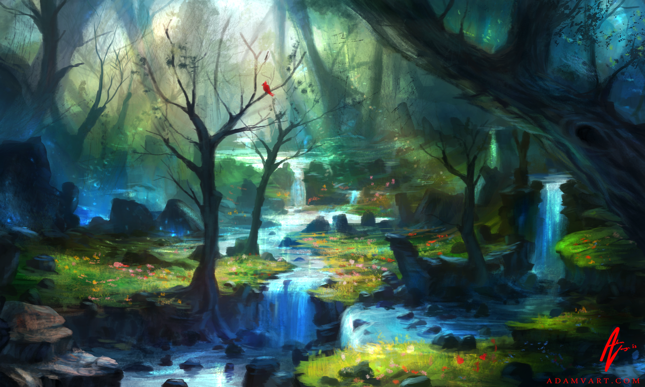 Waterfalls in the enchanted woods forest fantasy art fairies - Happy Thoughts Travel Fast Httf November 2014