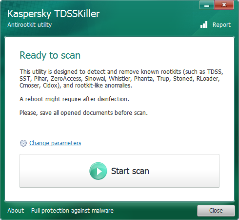 Principal screen of TDSSKiller