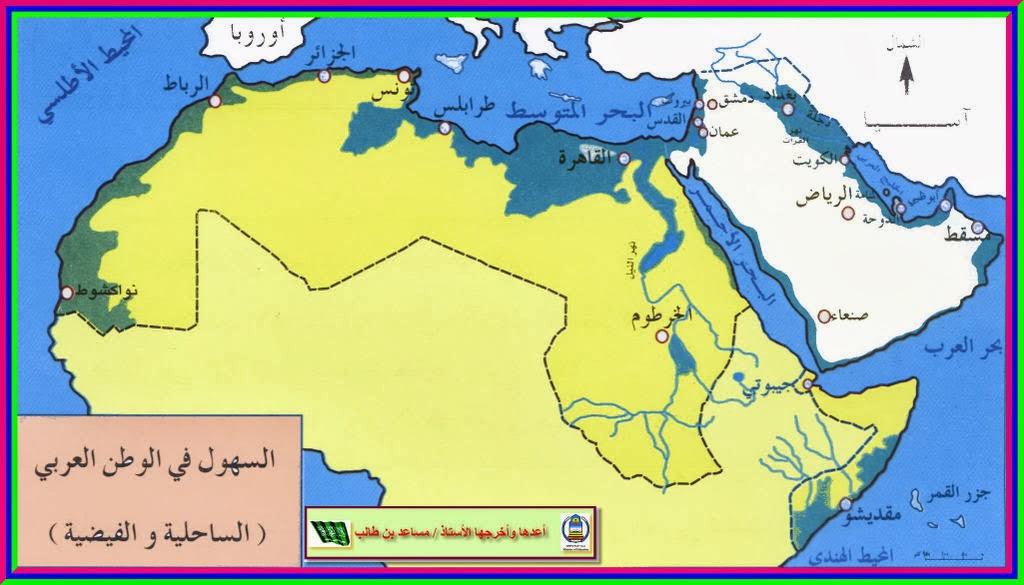 خريطة السهول فى الوطن العربى