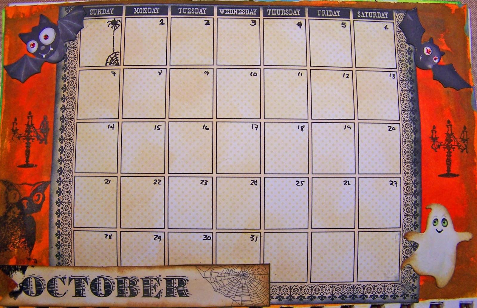 Art Journal Calendar Pages : Tatteredroses art journal calendar october