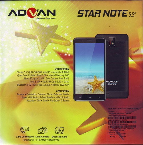 Advan Star Note S5L, HP Android KitKat Murah Harga 1,7 Jutaan