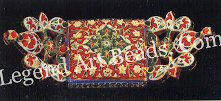 BAZU BAND (armlet-reverse) Jaipur 19 century Private collection the rectangular central piece is flanked by trefoils attached at an angle, facilitating comfort to the wearer. The scrolling foliage pattern enamelled in opaque white and translucent red on the reverse resembles a miniature carpet.