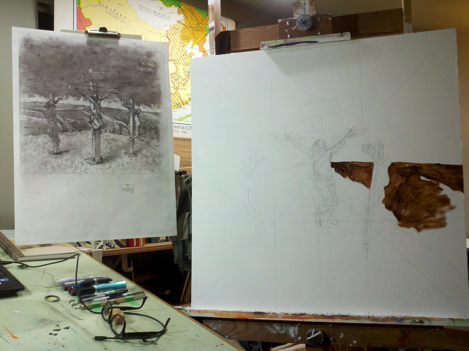 Watch this crucifixion scene develop from drawing to underpainting in