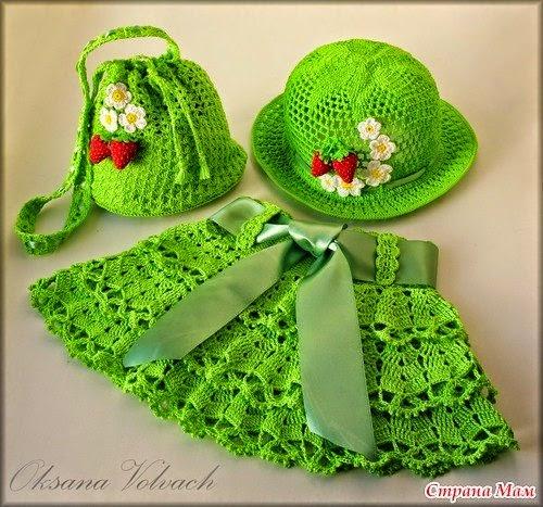 Pollera, sombrero y bolso niña crochet