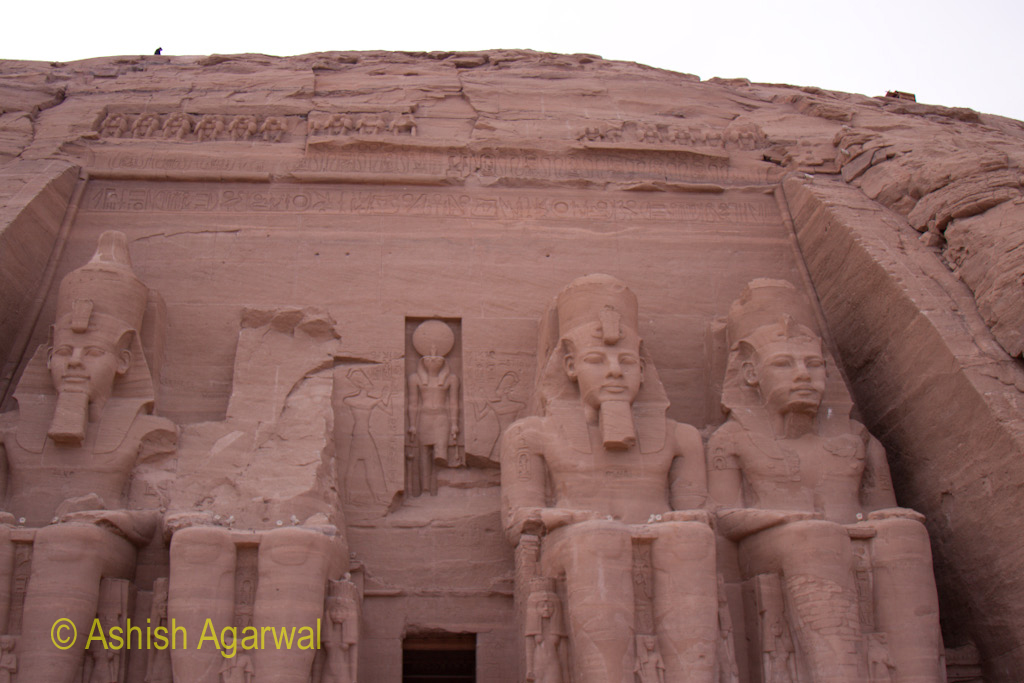 The statues in front of one of the hills of the Abu Simbel temple in South Egypt