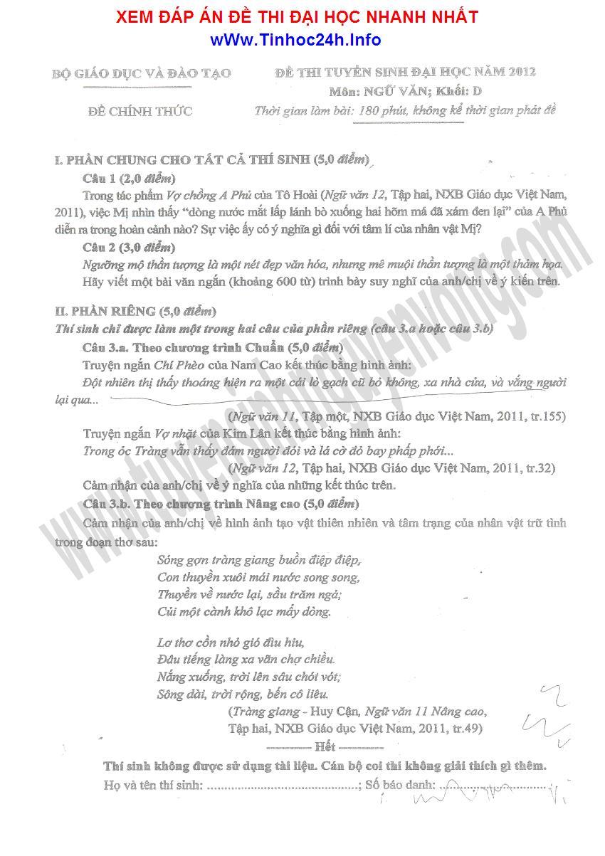 đề thi đại học môn văn khối D năm 2012