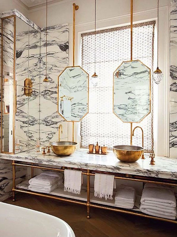 Brass and Marble Bathroom
