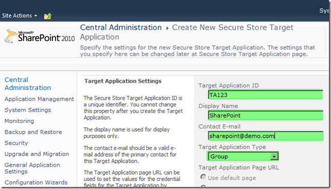 Configure Secure Store Target