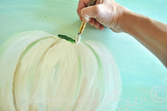 How to paint a pumpkin canvas, art skills not required!!!painting the stem