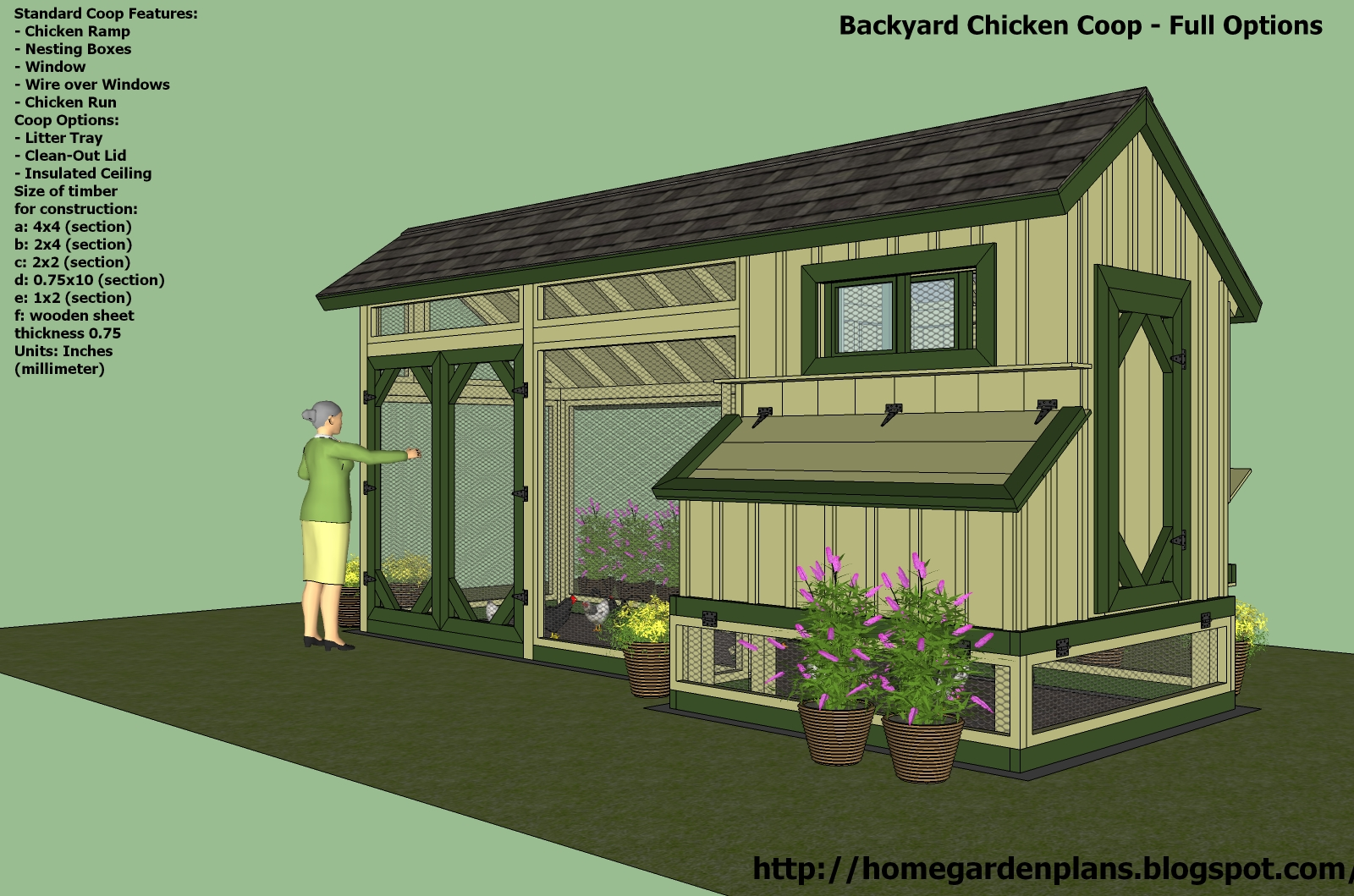Hen 39 s detailed chicken coop plans for Poultry house plans for 100 chickens