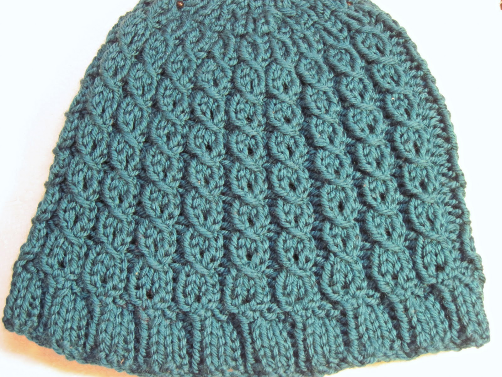 Bellas Crafty Mom Teal Mock Cable Hat