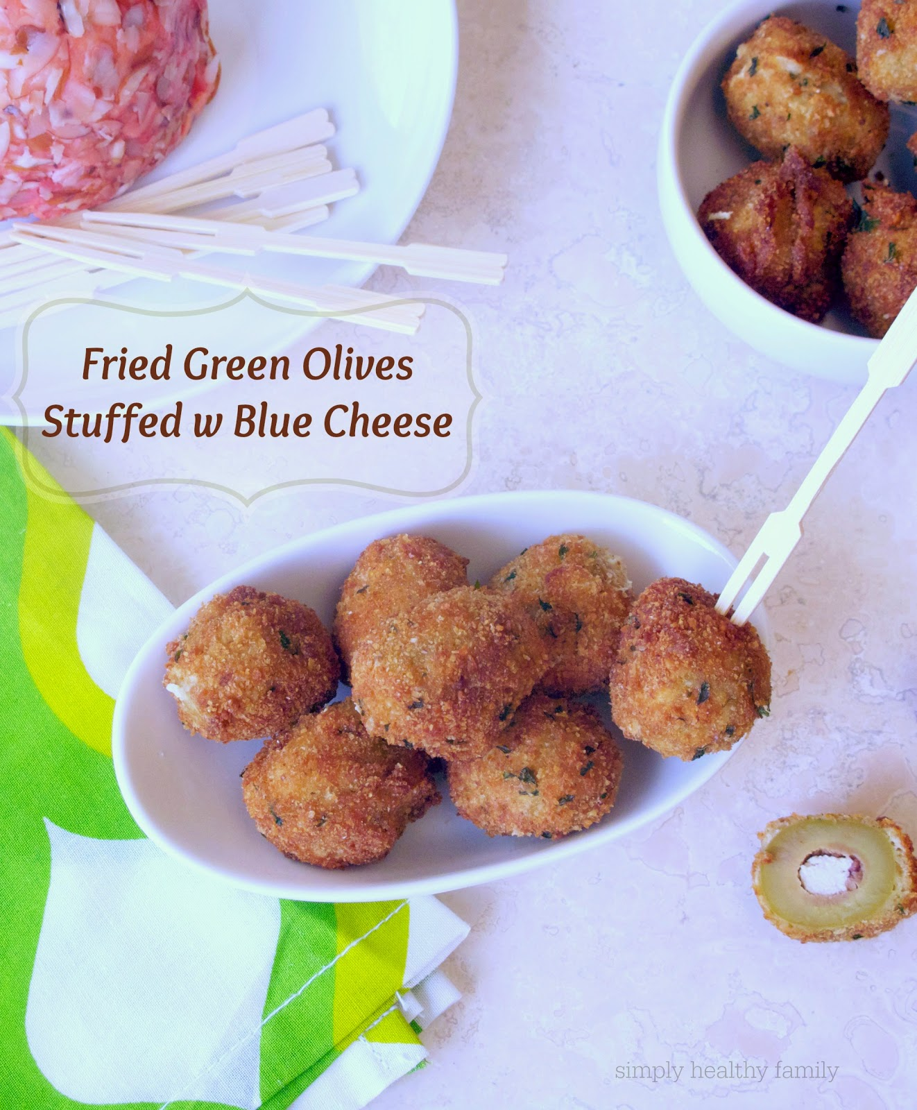 Fried Green Olives Stuffed With Blue Cheese Recipe — Dishmaps