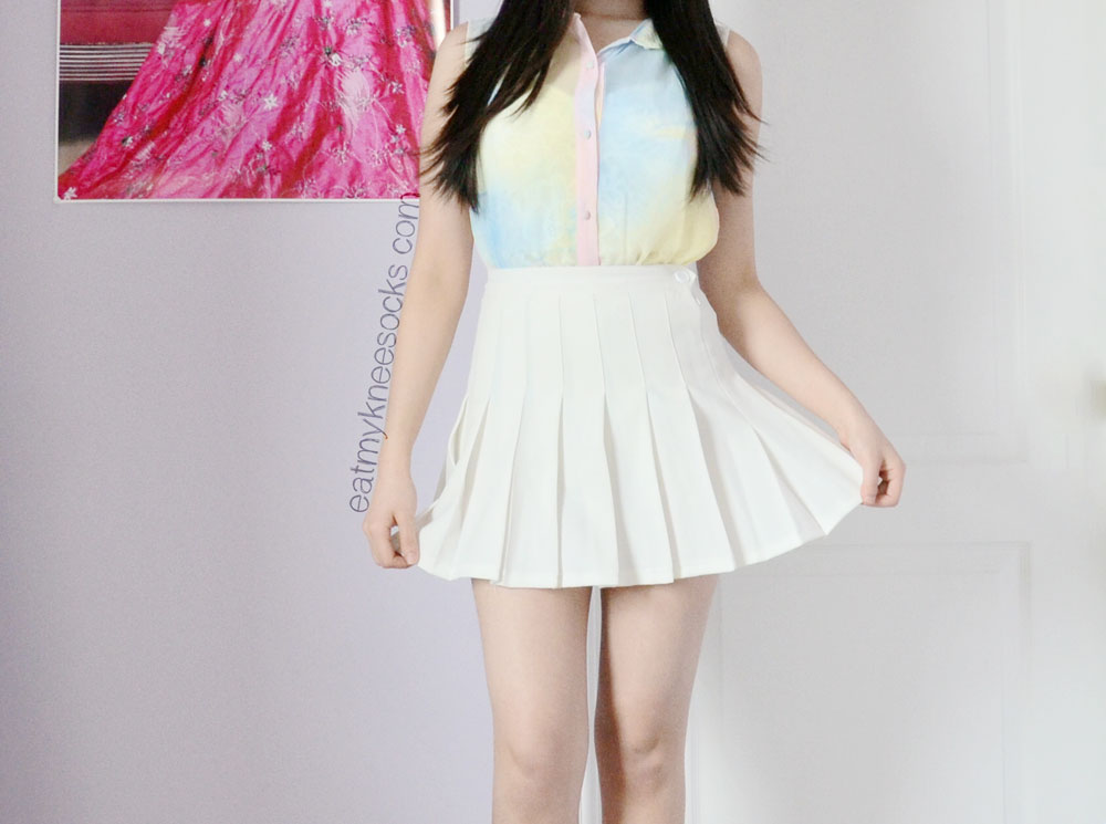 A cute spring outfit with the Romwe pastel watercolor blouse, American Apparel pleated tennis skirt, and Jeffrey Campbell Lita boot spikes. Inspired by ulzzang and pastel grunge styles.