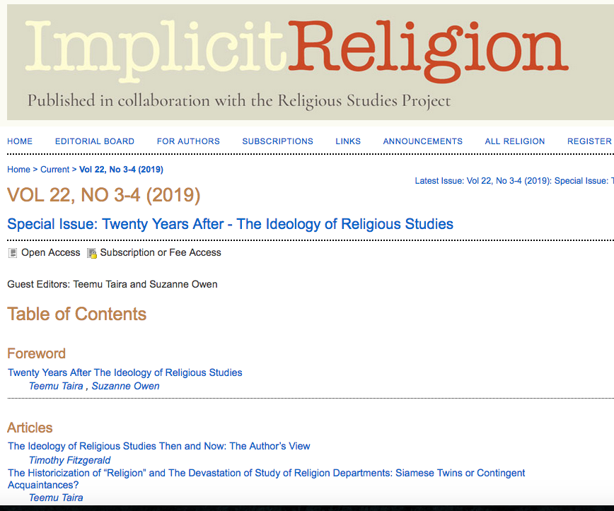 Twenty Years After The Ideology of Religious Studies