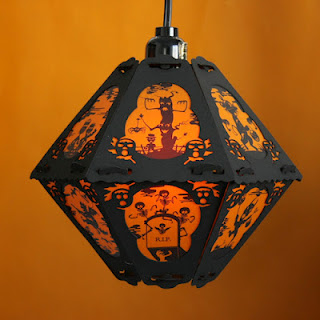 Haunted forest and skeleton graveyard on vintage style Pumpkin Dream Halloween lantern from Bindlegrim