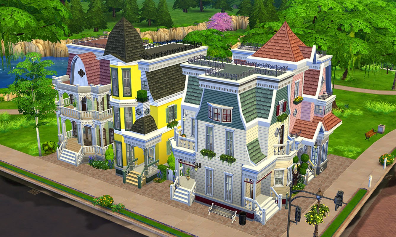 My sims 4 blog victorian avenue 4 unique villas in one for Lot one homes