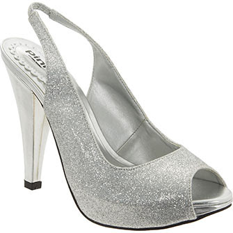 Pink Paradox London Designer silver glitter sling back high heels