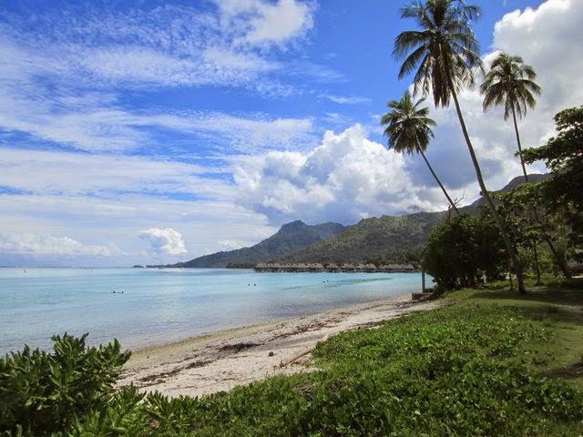 Plage de sable blanc à Moorea en Polynésie