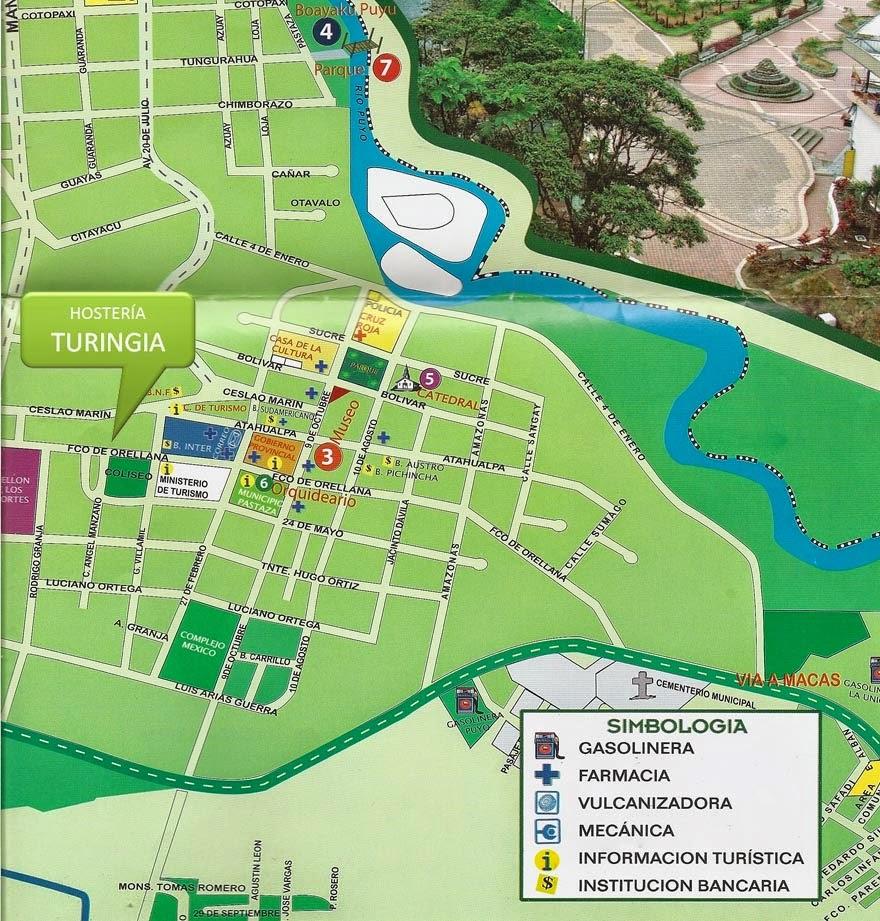 como llegar mapa Hosterías en el oriente ecuatoriano – Hostería Turingia