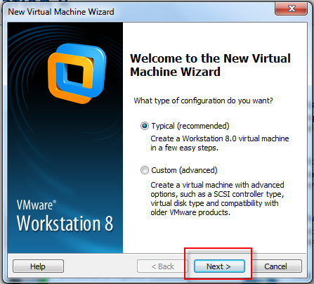 virtual machine wizard - click next