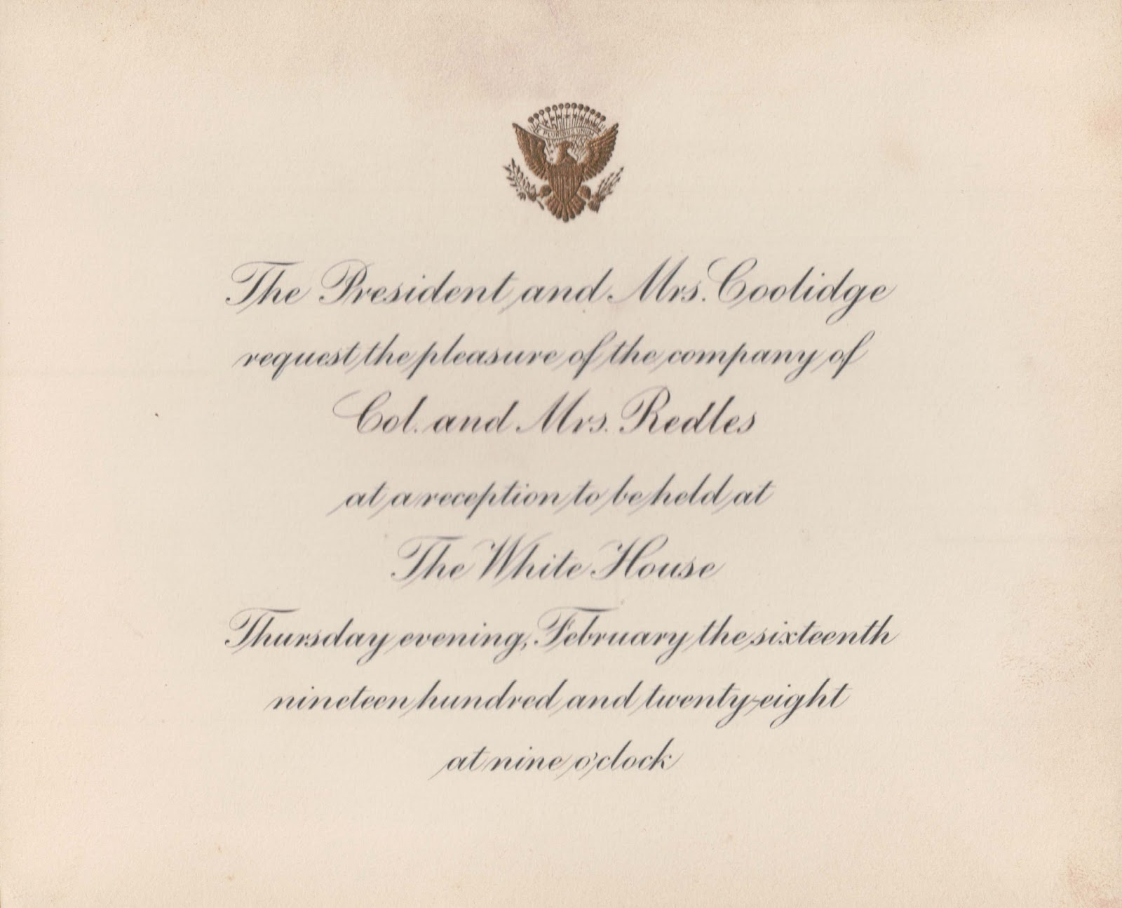 The pendleton genealogy post an invitation to the white house hotel roosevelt where they lived when they were in washington dc stopboris Choice Image