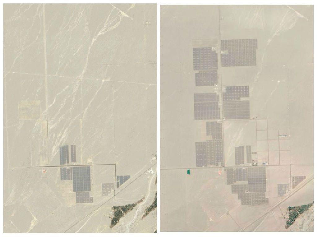 a2d3bb11e3f NASA lançou recentemente um novo lote de imagens de seus satélites  mostram-nos como energia solar China está crescendo rapidamente na  província de Gansu