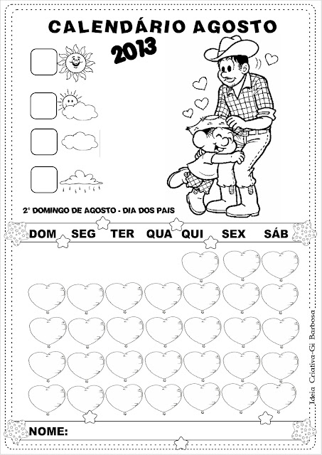 Calendários Dia dos Pais Agosto 2013 Turma da Mônica