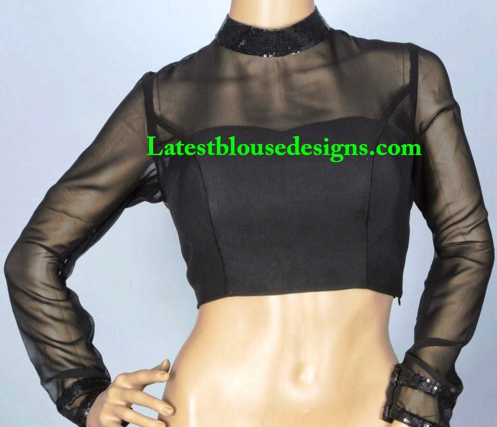high neck saree blouse patterns