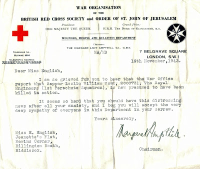 Letter from War Office showing presumed killed in action from World War II