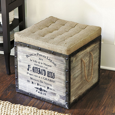 Ballard Designs & Our Hopeful Home: DIY French Burlap Storage Ottomans