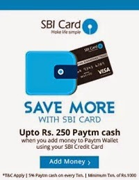 Get 5% Cashback on adding Min Rs.1000 in your Paytm Wallet using SBI Credit Card. Max Discount Rs.250 (Valid till 10th March)