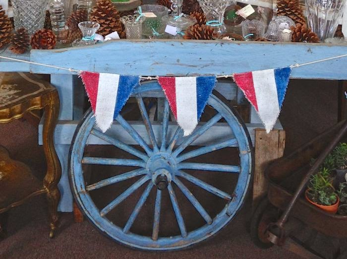 Fourth of July banner antique French market cart  The Pickled Hutch