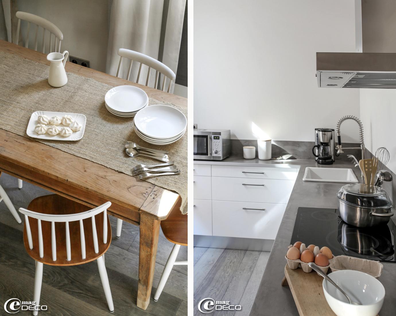 Vaisselle et pichet Ikea, plat Seletti, chaises suédoises Ilmari Tapiovaara repeintes par Nathalie Vingot Mei