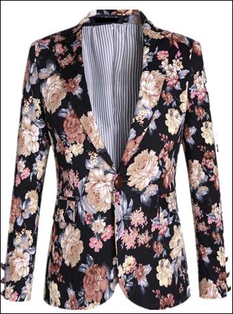 royalty style velvet mens floral blazer