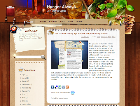 Hunger Always Blogger Theme