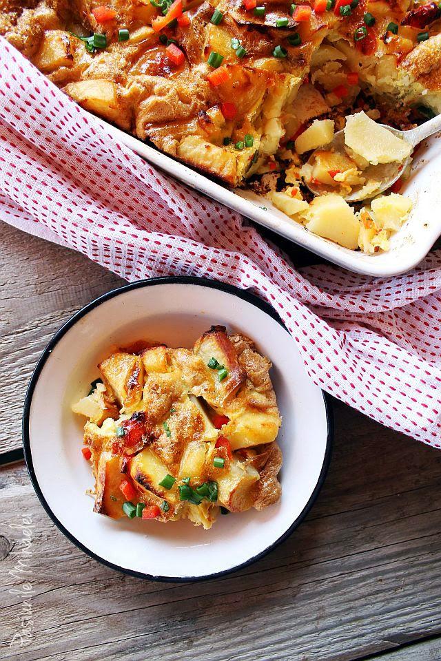 Cartofi cu oua la cuptor