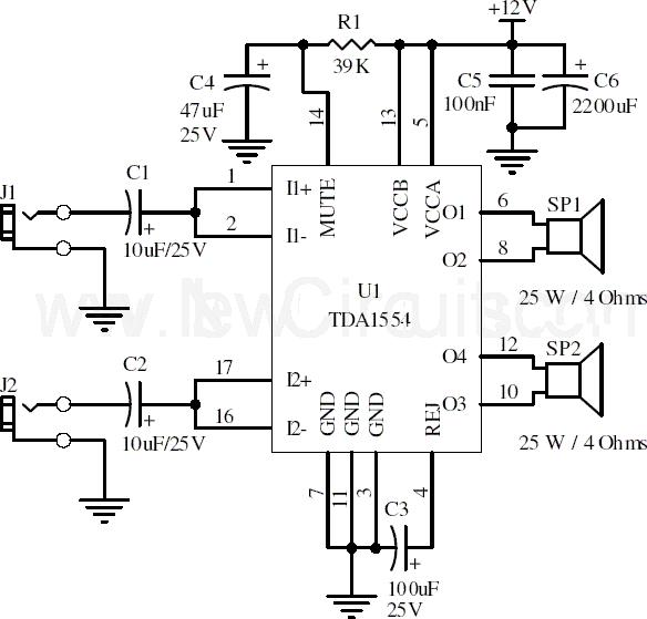 simple stereo audio amplifier circuit diagram  juanribon, circuit diagram