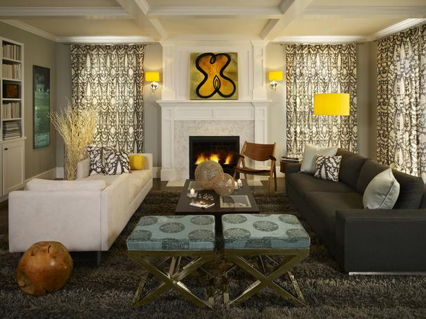 Modern furniture 2013 transitional living room decorating for Yellow modern living room ideas