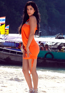 Shruthi Hassan in a very small orange Dress Spicy beach Side Pictures