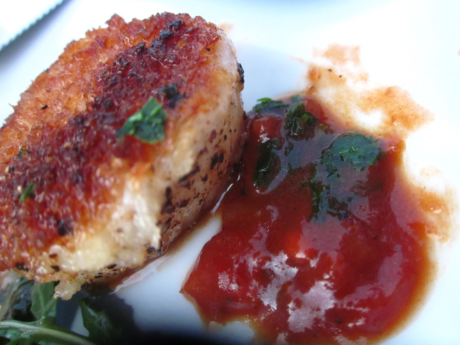 """Crusted pan seared scallops with smoked chili espagnole sauce. A """"must ..."""