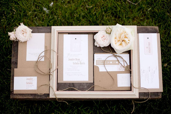 I am so in love with these soft pretty rustic wedding invites