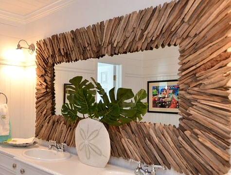 Large Driftwood Mirror in Bathroom