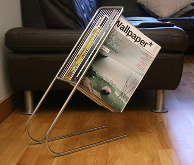 magazine rack, chrome