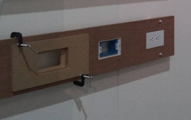 Smoothline flush-mount wall plate system for wood installation steps