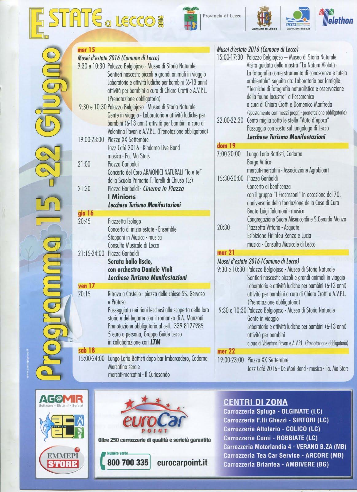 Estate a Lecco, gli eventi in città dal 15 al 22 giugno