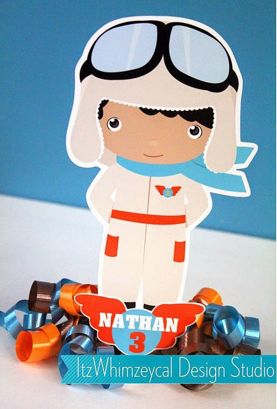 Personalized Aviator Airplane Pilot Centerpiece age name birthday party decoration table ribbon red blue goggles